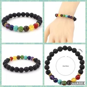 Lava Stone Chakra Healing Balance  Yoga Bracelet
